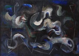 « Orage ». Huile sur toile, titrée et datée au dos : 5.11.1949. © Coll. privée.