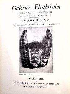 """Publicité parue dans la revue Cahiers d'art, 2-3, 1929. Ce masque malanggan est illustré dans le catalogue """"Plastik der Südsee""""."""