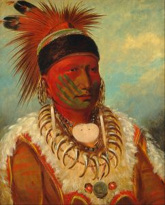 George Catlin (1796-1872), « The White Cloud, Head Chief of the Iowas ». Huile sur toile, 1844-1845. H. : 71 cm. L. : 58 cm. © National Gallery of Art, Washington D.C., Paul Mellon Collection, Inv. 1965.16.347.