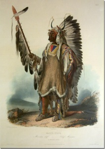 Karl Bodmer (1809-1893), « Chef Mandan Mato-Tope ». Aquatinte, vers 1840. © Coll. privée.