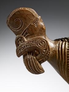 Boîte à plumes, Maori, côte est de l'île nord (baie de Plenty), Nouvelle-Zélande (détail ; objet non exposé). Milieu du XIXe siècle.