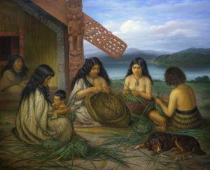 Gottfried Lindauer, « Maori Plaiting Flax Baskets [Femmes tressant des vanneries kono et kete en harakeke (lin, Phormium tenax)] », 1903. Huile sur toile, 217,5 x 265 cm. © Auckland Art Gallery Toi o Tāmaki, don de H. E. Partridge, 1915. Réf. : 1915/2/63.