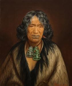 Gottfried Lindauer, « Kuinioroa, daughter of Rangi Kopinga – Te Rangi Pikinga ». Huile sur toile, non datée, 61,4 x 51,4 cm. © Auckland Art Gallery Toi o Tāmaki, don de H. E. Partridge, 1915.
