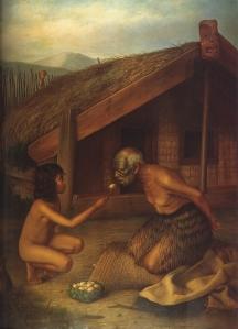 Gottfried Lindauer, « Tohunga under Tapu », vers 1902. Huile sur toile, 255,5 x 208 cm. © Auckland Art Gallery Toi o Tāmaki, don de H. E. Partridge, 1915. Réf. : 1915/2/50. Cette toile est la reprise d'une aquarelle d'Horatio Gordon Robley (« Tapu », 1863-1864, 16,5 x 19 cm, Alexander Turnbull Library, Wellington). Le tohunga (sorcier, sage, prêtre ou guérisseur) est nourri parce qu'il est si tapu (interdit lié au sacré) qu'il ne peut toucher lui-même la nourriture considérée comme impure.