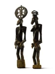Couple, Sénoufo, Côte d'Ivoire. Bois. H. : 115 et 97 cm. © Coll. privée. Courtesy McClain Gallery, Sotheby's.
