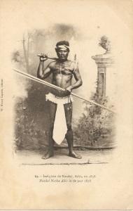 « 69. – Indigène de Naudaï [Nandaï], Adio, en 1858 - Naudaï Native Adio in the year 1858. W. Henry Caporn, éditeur. ». 9 x 14 cm. La ceinture qu'il porte sous les aisselles (voir également la carte postale numérotée 37, du même éditeur) rappelle peut-être l'ancienne forme de l'étui pénien vertical qui était composé d'une ceinture haute en fibres végétales qui passait au-dessus des seins, sous les aisselles et qui retenait l'étui proprement dit, enveloppant le pénis dressé verticalement, le long du ventre, l'étui se prolongeant sur la poitrine.