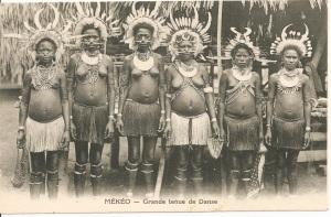 « Mékéo ¬— Grande tenue de danse. Missionnaires du Sacré-Cœur d'Issoudun. Papouasie – Nouvelle-Guinée (Océanie). » 8,8 x 13,8 cm. Les Mekeo vivent dans des communautés villageoises le long de la côte sud-est, à environ cent kilomètres de Port Moresby.