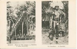 « Mekeo – Hôtel de Ville indigène ou Marea. A native town-hall [maison des hommes]. Un cannibale – A cannibal. Missionnaires du Sacré-Cœur d'Issoudun. Papouasie – Nouvelle-Guinée (Océanie). Sacred Heart Fathers – Papua. » 8,8 x 13,8 cm.