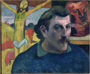 « Autoportrait au Christ jaune », Paul Gauguin, 1890-1891. Huile sur toile, 38 x 46 cm. © Paris, musée d'Orsay, avec la participation de Philippe Meyer et d'un mécénat japonais coordonné par le quotidien Nikkei, 1994. Inv. 1994-2-W.324.