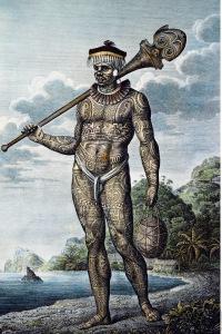 « Native of Nukahiva Island » (Homme de Nuku Hiva), par Wilhelm Gottlieb Tilesius von Tilenau, 1804, gravure sur cuivre par Egor Skotnikov, Krusenstern, 1813, Atlas, pl. 8. © Musée du quai Branly, Paris, Inv. N-A-027594.