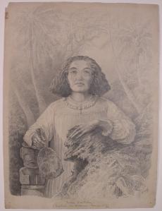 Portrait de la reine Vaekehu, dessin par Julien Viaud (Pierre Loti), 1872, publié dans L'Illustration du 11 octobre 1873. © Coll. Musée d'art et d'histoire, Rochefort.
