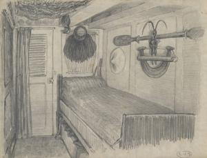 La cabine de Pierre Loti sur La Flore (côté lit). Dessin par Pierre Loti. En plus d'un moai kavakava, on y voit le reimiro, l'ao et une collerette en fibres végétales. Dessin à la mine de plomb sur papier vélin fin, 20 x 26 cm. © Muséum d'histoire naturelle de Toulouse, MHNT.ETH.OC.981.1.1. Photo D. Martin.
