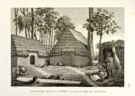 Alphonse Pellion (1795-1815), « Îles Sandwich : Maisons de Kraïmokou, Premier Ministre du Roi ; Fabrication des étoffes », gravure, Paris, 1825. © Coll. privée. Photo : Sharok Shalchi.