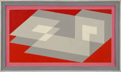 Josef Albers (1888-1976), « Tenayuca », 1943. Huile sur masonite. Dim. : 57,15 x 110,49 cm. Coll. SFMOMA. Purchase (1984) with the aid of funds from Mr. and Mrs. Richard N. Goldman and Madeleine Haas Russell. © The Josef and Anni Albers Foundation/Artists Rights Society (ARS), New York.