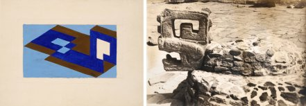 Josef Albers (1888-1976), « Study for Tenayuca », vers 1938. Huile et graphite sur papier buvard. Dim. : 30,5 x 40,9 cm. - « Platform of the Eagles, Chichén Itzá », 1952. Épreuve à la gélatine argentique. Dim. : 17,7 x 12,7 cm. © The Josef and Anni Albers Foundation/Artists Rights Society (ARS), New York. Inv. X.2016.10967 et X.2016.10876.